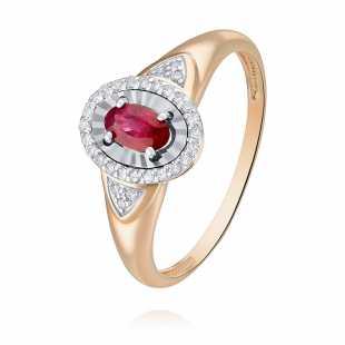 Кольцо из красного золота 585 пробы с бриллиантом и рубином