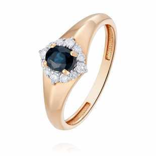Кольцо из красного золота 585 пробы с сапфиром и бриллиантом