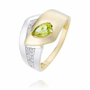 Кольцо из желтого золота 585 пробы с хризолитом