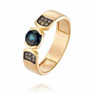 Кольцо из красного золота 585 пробы с бриллиантом, сапфиром