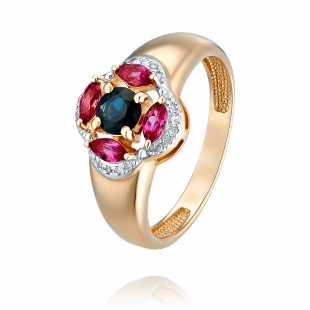 Кольцо из красного золота 585 пробы с бриллиантом, миксом вставок